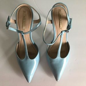 Zara baby Blue T-Strap heels Patent sexy size 7